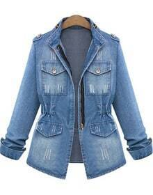 Blue Long Sleeve Bleached Ripped Denim Jacket