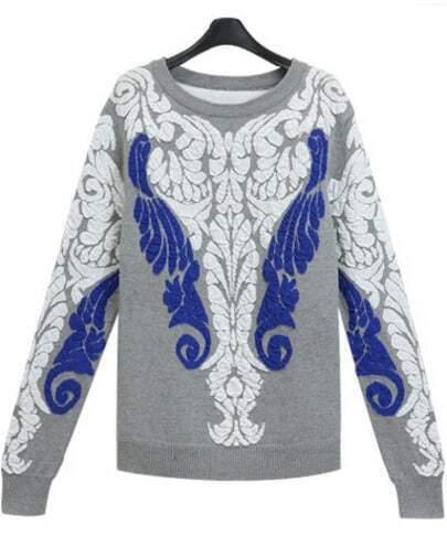 Grey Long Sleeve Jacquard Knit Sweater