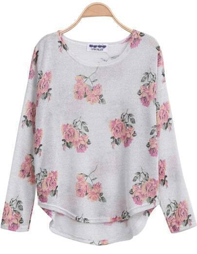 White Long Sleeve Florals Print Dipped Hem Knitwear