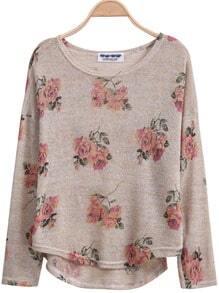 Aprioct Long Sleeve Florals Print Dipped Hem Knitwear