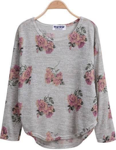 Grey Long Sleeve Florals Print Dipped Hem Knitwear