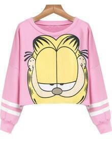 Pink Long Sleeve Garfield Cat Print Crop Sweatshirt