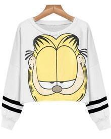 White Long Sleeve Garfield Cat Print Crop Sweatshirt