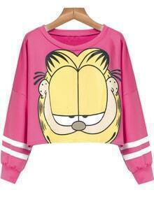 Rose Red Long Sleeve Garfield Cat Print Crop Sweatshirt