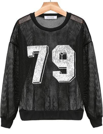 Black 79 Print Sheer Crochet Sweatshirt