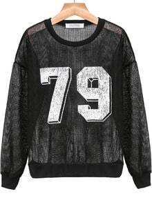 Black 79 Print Sheer Crochet Sweatshirt