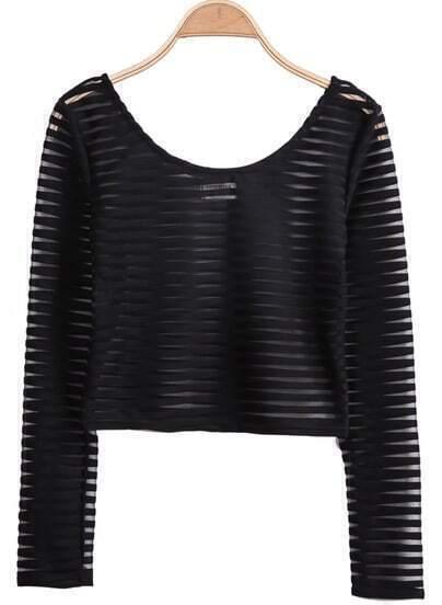 Black Long Sleeve Striped Crop Top