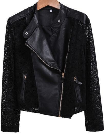 Black Contrast Crochet PU Leather Biker Jacket