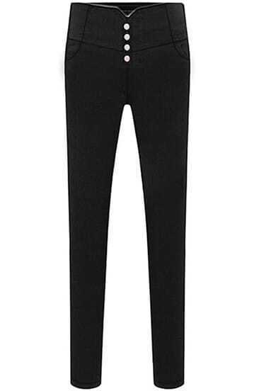 Black Metal Button Embellishment Skinny Pant
