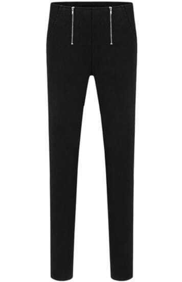 Black Double Zipper Embellishment Skinny Pant
