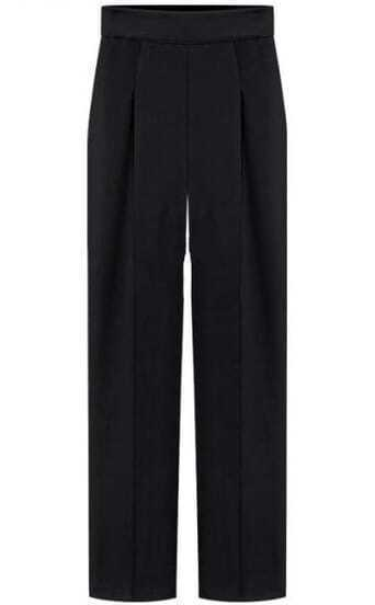 Black Wide Leg Pleated Trouser