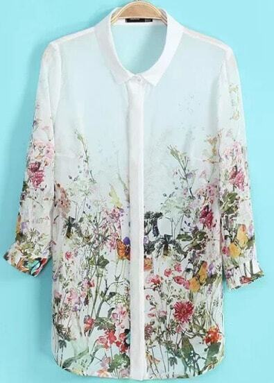 White Crop Sleeve Florals Print Blouse