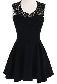 Black Sleeveless Lace Crochet Backless Flare Dress
