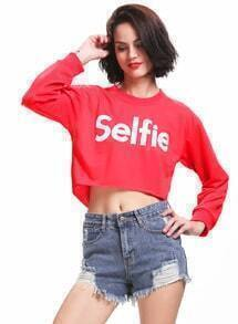 Red Selfie Print Crop Sweatshirt