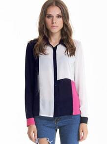 White and Navy Long Sleeve Blocking Blouse