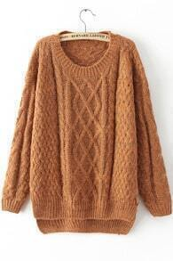 Yellow Long Sleeve Cable Knit Loose Sweater