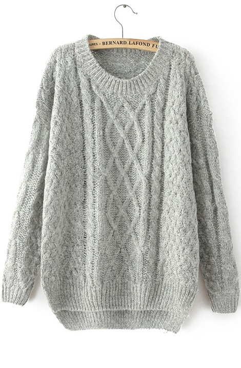 Grey Long Sleeve Cable Knit Loose Sweater -SheIn(Sheinside)