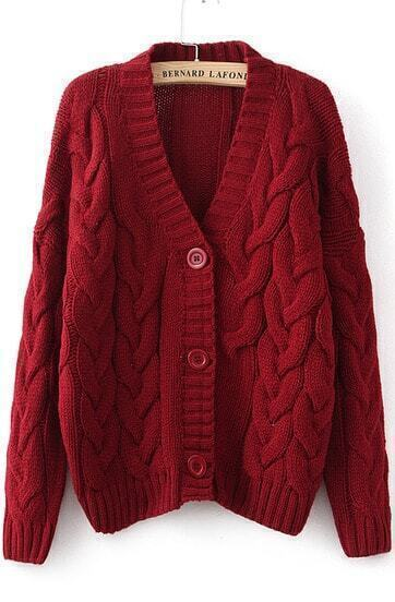 Wine Red Long Sleeve Cable Knit Cardigan