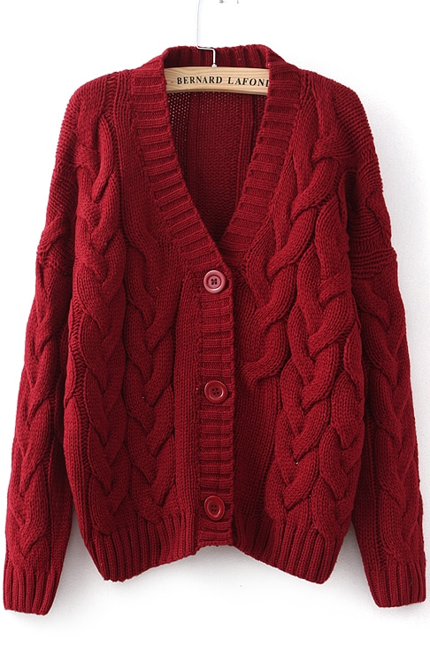 Wine Red Long Sleeve Cable Knit Cardigan -SheIn(Sheinside)
