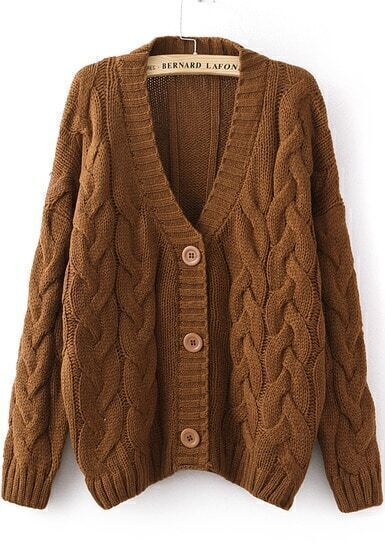 Coffee Long Sleeve Cable Knit Cardigan