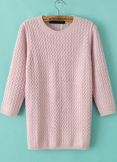 Pink Three Quarter Length Sleeve Sweater