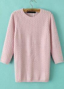 Pink Three Quarter Length Sleeve Sweater