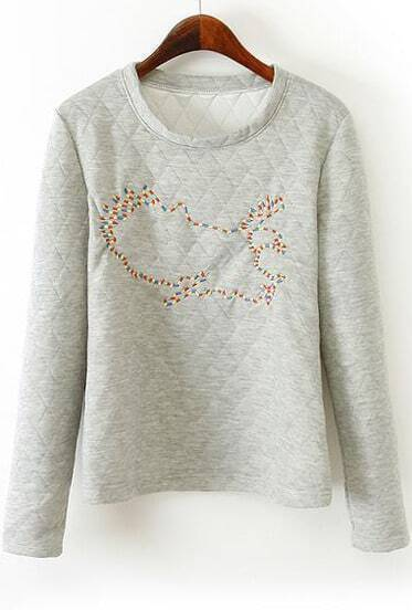 Grey Long Sleeve Eagle Embroidery Sweatshirt