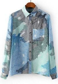 Blue Long Sleeve Leaves Print Pocket Blouse