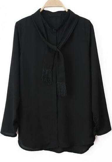 Black Long Sleeve Tie Front Tassel Blouse
