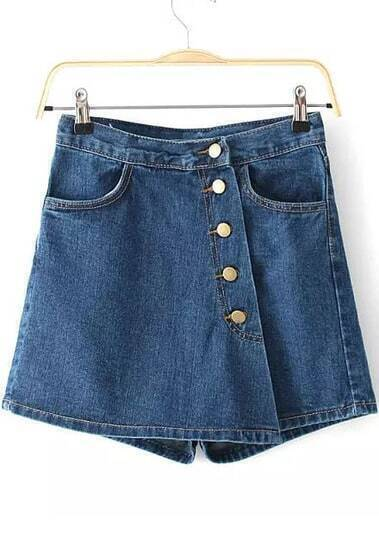 Blue Pockets Denim Skirt Shorts