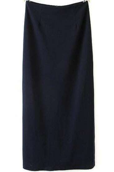 Navy Split Back Zipper Maxi Skirt