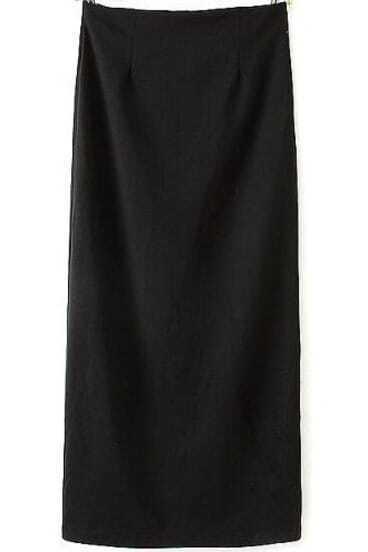 Black Split Back Zipper Maxi Skirt
