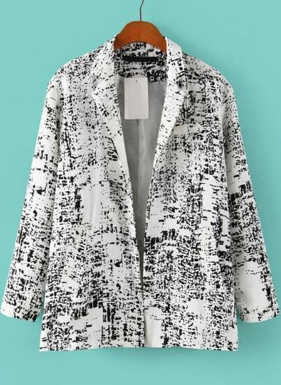 White Notch Lapel Long Sleeve Ink Print Blazer