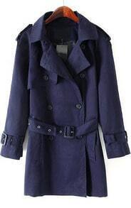 Navy Long Sleeve Double Breasted Belt Trench Coat