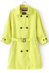 Neon Yellow Three Quarter Length Sleeve Trench Coat