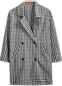 Black Lapel Long Sleeve Plaid Pockets Coat