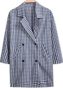 Blue Lapel Long Sleeve Plaid Pockets Coat