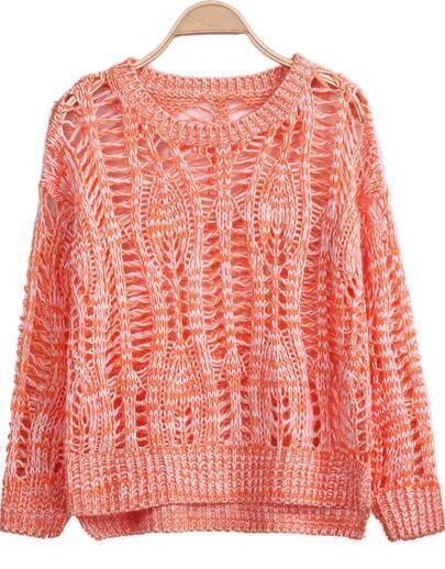 Orange Long Sleeve Batwing Hollow Knit Sweater