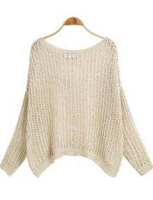 Apricot Long Sleeve Hollow Knit Sweater