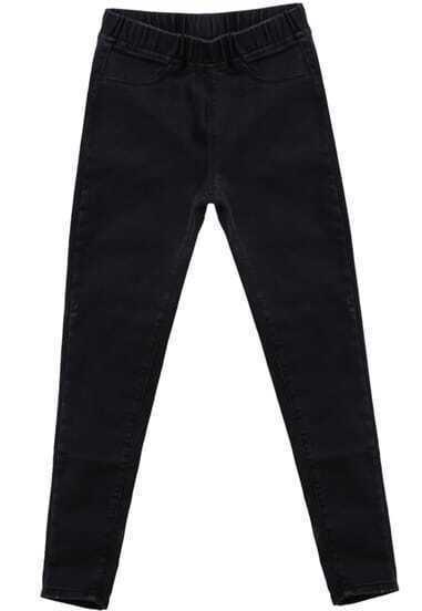 Black Elastic Waist Pockets Denim Pant
