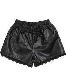 Black Elastic Waist PU Leather Shorts