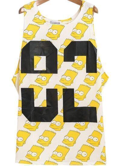 Yellow Sleeveless Simpson 82 Print Vest
