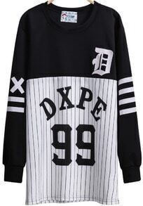 Black Long Sleeve Striped 99 Print Sweatshirt