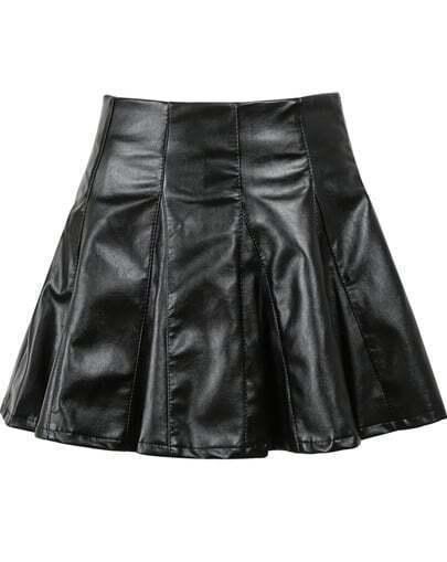 Black High Waist Pleated PU Leather Skirt