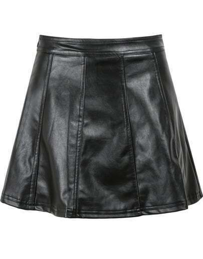 Black High Waist Slim PU Leather Skirt