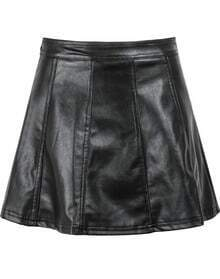Black High Waist Slim PU Leather Skirt