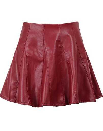 Red High Waist Pleated PU Leather Skirt