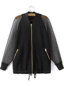Black Sheer Mesh Yoke Long Sleeve Zipper Jacket