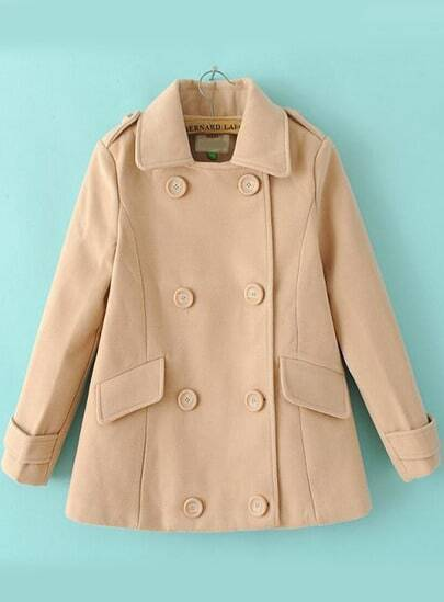 Apricot Long Sleeve Epaulet Double Breasted Coat