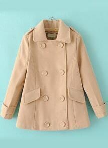 Apricot Long Sleeve Epaulet Double Breasted Coat